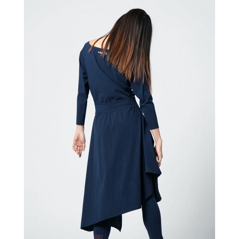 Asymmetric high-stretch dress