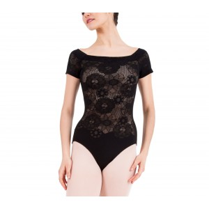Short sleeves lace leotard